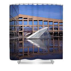 Reflections At The Library Shower Curtain by Rona Black