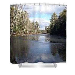Shower Curtain featuring the photograph Reflections Caught On Ice At A Pretty Lake In New Hampshire by Eunice Miller