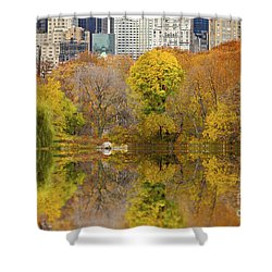 Reflections In Central Park New York City Shower Curtain by Sabine Jacobs