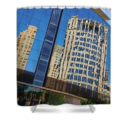 Shower Curtain featuring the photograph Reflections In The Rolex Bldg. by Robert ONeil