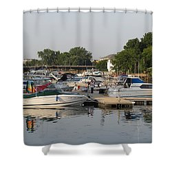 Reflections In The Small Boat Harbor Shower Curtain by Kay Novy
