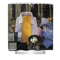 Shower Curtain featuring the photograph Reflections Of A Gentleman's Tailor by Terri Waters