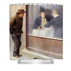 Reflections Of A Hungry Man Or Social Contrasts Shower Curtain by Emilio Longoni