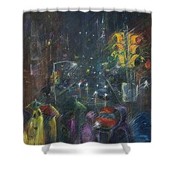 Reflections Of A Rainy Night Shower Curtain by Leela Payne