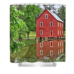 Reflections Of A Retired Grist Mill - Square Shower Curtain by Gordon Elwell