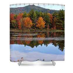 Reflections Of Fall Shower Curtain by Kerri Mortenson