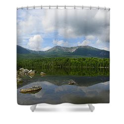 Reflections Of Katahdin At Sandy Stream Pond Shower Curtain