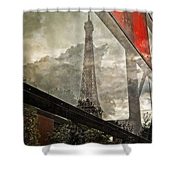 Reflections Of Paris Shower Curtain by Mary Machare