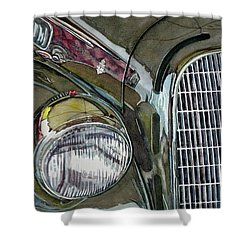 Shower Curtain featuring the painting Reflections On 1931 Alfa Romeo Milano by Anna Ruzsan
