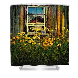 Reflections On Happiness Shower Curtain by Lianne Schneider