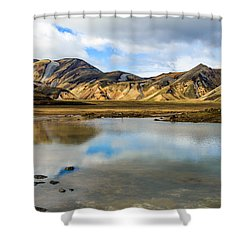 Shower Curtain featuring the photograph Reflections On Landmannalaugar by Peta Thames