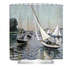 Regatta At Argenteuil Shower Curtain by Gustave Caillebotte