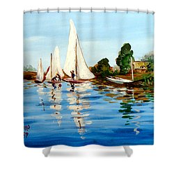 Regatta De Argenteuil Shower Curtain by Karon Melillo DeVega