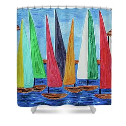 Regatta Shower Curtain by Diane Pape