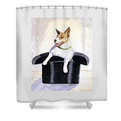 Shower Curtain featuring the painting Reggie In A Top Hat  by Angela Davies