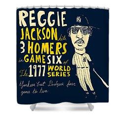 Reggie Jackson New York Yankees Shower Curtain by Jay Perkins
