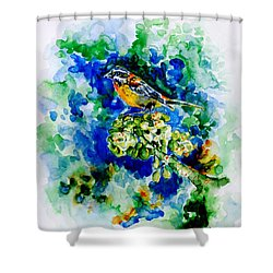 Reina Mora Shower Curtain by Zaira Dzhaubaeva