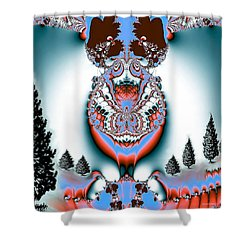 Reindeer Blues Shower Curtain by Maria Urso
