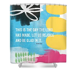 Rejoice And Be Glad- Contemporary Scripture Art Shower Curtain by Linda Woods