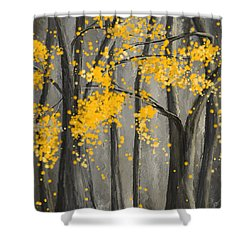 Rejuvenating Elements- Yellow And Gray Art Shower Curtain