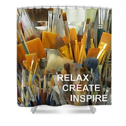 Relax Create Inspire Shower Curtain
