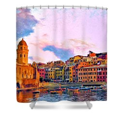 Relaxing Around Vernazza Shower Curtain by Michael Pickett