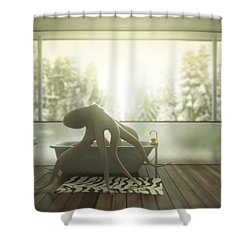 Relaxing Octopus...  Shower Curtain by Pixel Chimp