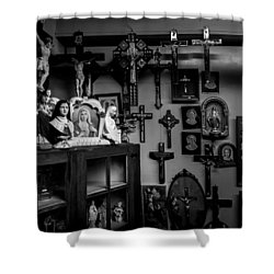 Religion And The Curio Shop Shower Curtain by Bob Orsillo