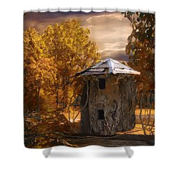Remains Shower Curtain by Jack Zulli