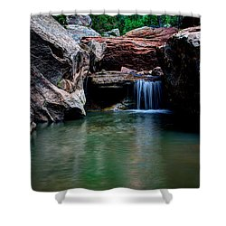 Remote Falls Shower Curtain by Chad Dutson