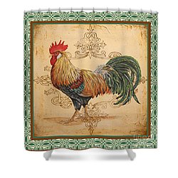 Renaissance Rooster-a-green Shower Curtain by Jean Plout