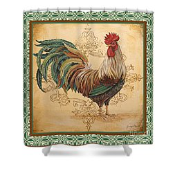 Renaissance Rooster-d-green Shower Curtain by Jean Plout