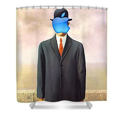Rene Magritte Son Of Man Apple Computer Logo Shower Curtain by Tony Rubino