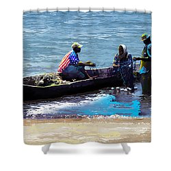 Shower Curtain featuring the painting Repairing The Net At Lake Victoria by Anthony Mwangi