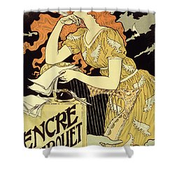 Reproduction Of A Poster Advertising 'marquet Ink' Shower Curtain by Eugene Grasset