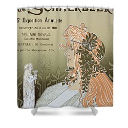 Reproduction Of A Poster Advertising 'schaerbeek's Artistic Circle Shower Curtain by Livemont