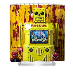 Rescue Robot Shower Curtain by Garry Gay