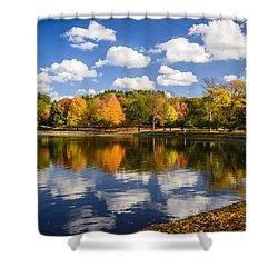Reservoir In Autumn Shower Curtain