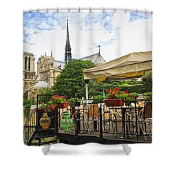 Restaurant On Seine Shower Curtain by Elena Elisseeva