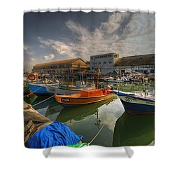 resting boats at the Jaffa port Shower Curtain
