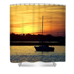 Shower Curtain featuring the photograph Resting In A Mango Sunset by Sandi OReilly