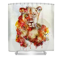 Resting Lioness In Watercolor Shower Curtain