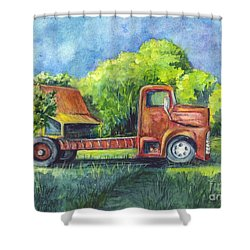 We Have Retired Here Shower Curtain