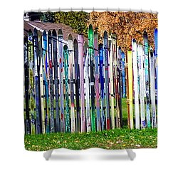 Shower Curtain featuring the photograph Retired Skis  by Jackie Carpenter