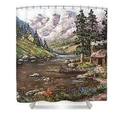 Shower Curtain featuring the painting Retreat by Megan Walsh