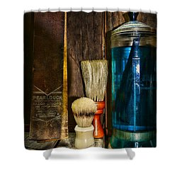 Retro Barber Tools Shower Curtain by Paul Ward