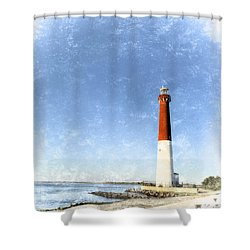 Retro Barnegat Lighthouse Barnegat Light New Jersey Shower Curtain by Marianne Campolongo
