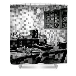 Retro Diner Bw Shower Curtain by Karen Wiles