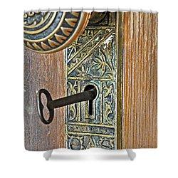 Retro Intricate Door Knob And Metal Key Art Prints Shower Curtain