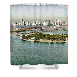 Retro Style Miami Skyline And Biscayne Bay Shower Curtain